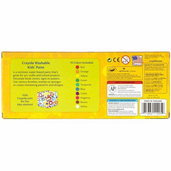 Crayola Washable Kid's Paint 10 Bottles Per Pack - 1