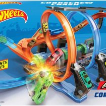 Hot Wheels Corkscrew Crash Connectable Track Set with Loops and Diecast and Mini Toy Car