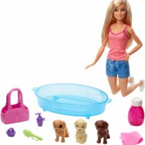 Barbie Doll Blonde and Playset with 3 Puppies