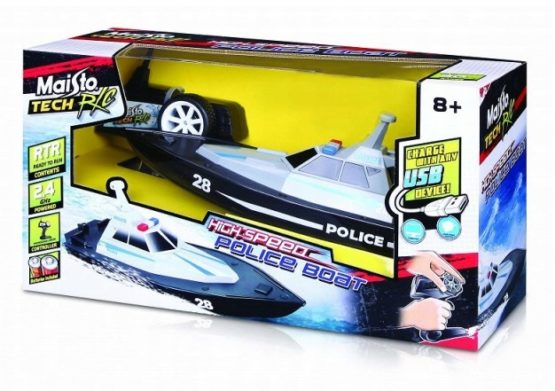 Maisto Remote Control High Speed Police Boat – Colors May Vary