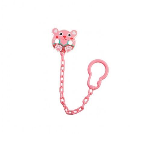 Farlin Baby Pacifier Clip Pink Bear