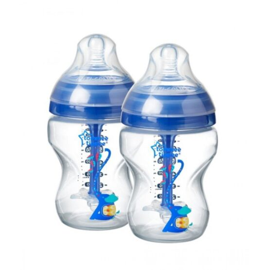 Tommee Tippee Advanced Anti Colic Decorated Feeding 2 Bottles 0m+ 260ml Blue