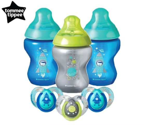 Tommee Tippee Boldly Go Baby Bottle and Pacifier Gift Set Blue