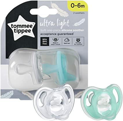 Tommee Tippee Ultra-Light Silicone Soother 0-6m 2 Pack