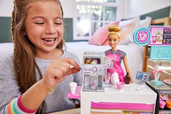 Barbie Doll Coffee Shop Playset and Doll with 20 Accessories