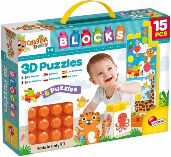 Lisciani Carotina Baby Blocks 3d Animal Puzzle